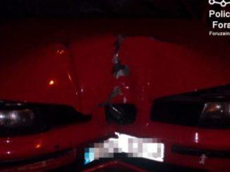 coche empotrado contra farola